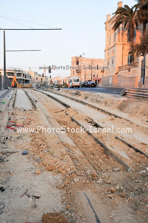 Israel, Jerusalem, Construction of the public train transport system in Jerusalem