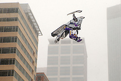 February 3, 2018 - Minneapolis, MN, USA - Levi LaValle leaps a snowmobile over Nicollet Mall for the Polaris UpsideDown stunt on Saturday, Feb. 3, 2018, as part of Super Bowl Live in downtown Minneapolis. (Credit Image: © Anthony Souffle/TNS via ZUMA Wire)