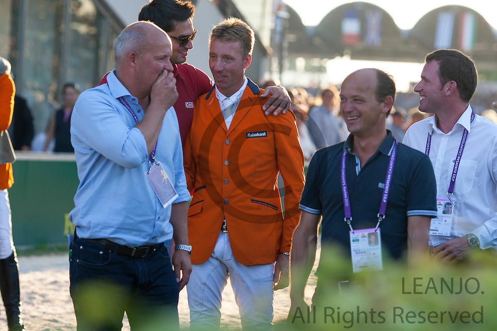 The Netherlands European Champion 2015 with in the team Jeroen Dubbeldam & SFN Zenith N.O.P., Maikel van der Vleuten & VDL Groep Verdi TN N.O.P., Jur Vrieling & VDL Zirocco Blue N.O.P., Gerco Schroder & Glock's Cognac Champblanc 2th Germany 3th Switzerland<br /> FEI European Championships Aachen 2015<br /> © DigiShots