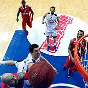 Fenerbahce Ulker's Emir Preldzic (2ndL) during their Euroleague Basketball Top 16 Game 13 match Fenerbahce Ulker between Olympiacos at Fenerbahce Ulker Sports Aren in Istanbul, Turkey, Thursday, March 29, 2013. Photo by TURKPIX