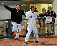 Lee Huggins lined a game-winning double off the outfield wall the give the Lake Erie Crushers a 1-0 win over Florence in a Frontier League game on Tuesday, June 29, 2010 at All Pro Freight Stadium in Avon, Ohio. Photo by David Richard / DavidRichardPhoto.com