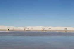 covered picnic tables in White Sands National Park in New Mexico