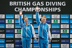 Grace Reid and James Heatly of Edinburgh Diving Club celebrate victory in the new for 2015 Mixed 3m Synchronised Springboard Competition - Photo mandatory by-line: Rogan Thomson/JMP - 07966 386802 - 20/02/2015 - SPORT - DIVING - Plymouth Life Centre, England - Day 1 - British Gas Diving Championships 2015.