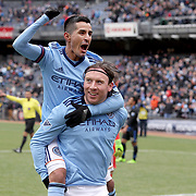 NEW YORK, NEW YORK - April 12: Thomas McNamara #15 of New York City FC celebrates with team mate Maximiliano Moralez #10 of New York City FC after scoring the winning goal in his sides 2-1 win during the New York City FC Vs San Jose Earthquakes regular season MLS game at Yankee Stadium on April 1, 2017 in New York City. (Photo by Tim Clayton/Corbis via Getty Images)