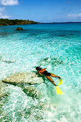 US Virgin Islands, St. John, Trunk Bay Beach, snorkeling, snorkeler, model released, photo: usvi20103  .Photo copyright Lee Foster, www.fostertravel.com, 510/549-2202, lee@fostertravel.com