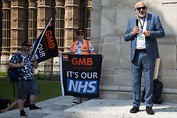 Jon Trickett, Labour MP for Hemsworth, addresses NHS workers from the grassroots NHSPay15 campaign outside Parliament before a march to 10 Downing Street to present a petition signed by over 800,000 people calling for a 15% pay rise for NHS workers on 20th July 2021 in London, United Kingdom. At the time of presentation of the petition, the government was believed to be preparing to offer NHS workers a 3% pay rise in 'recognition of the unique impact of the pandemic on the NHS'.