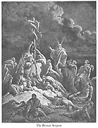 The Bronze [Brazen] Serpent Numbers 21:9 From the book 'Bible Gallery' Illustrated by Gustave Dore with Memoir of Dore and Descriptive Letter-press by Talbot W. Chambers D.D. Published by Cassell & Company Limited in London and simultaneously by Mame in Tours, France in 1866