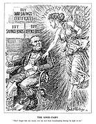 "The Good Fairy. ""Don't forget that any money you can save from housekeeping belongs by right to me."" (the fairy of Victory carries her V wand and reminds John Bull to direct the revenue gained from War Savings Certificates, Savings Bonds and Defence Bonds to her)"
