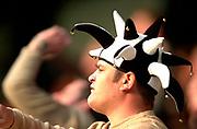 Wycombe. GREAT BRITAIN, 13th April 2003 Rugby Parker Pen European  Cup,  Causeway Stadium/ Adams Park, ENGLAND. Photo, Peter Spurrier/Intersport-images]<br /> <br /> 2003 -Rugby Parker Pen European  Cup <br /> London Wasps v Pontypridd<br /> Pontypridd fan's head wear