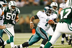 Philadelphia Eagles quarterback Michael Vick #7 runs the ball during the NFL game between the Philadelphia Eagles and the New York Jets on September 3rd 2009. The Jets won 38-27 at Giants Stadium in East Rutherford, NJ.  (Photo By Brian Garfinkel)