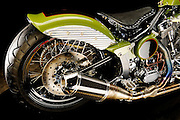 Custom motorcycle built by Tony at TFab Metal for AMA Pro racer Monte Frank.  Cross between a dirt bike, flat track racer, and chopper.
