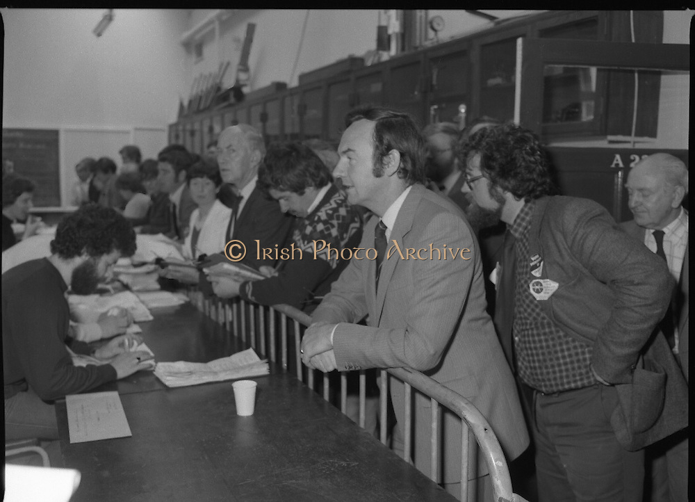 General Election Count.  ((N81)..1981..13.06.1981..06.13.1981..13th June 1981..After the general election voting was done and dusted, attention now swung to the various count centres throughout the country. Hopeful politicians,wellwishers and party tally men descended on the centres to see the counting take place and hope to glean their prospects or that of the parties..Picture shows Dr Michael Woods,Minister for Health and H-Block candidate Mr Healy watching the count in Bolton Street.