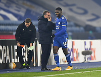 Football - 2020 / 2021 Europa League - Group G - Leicester City vs Sporting Braga - King Power Stadium<br /> <br /> Leicester City manager Brendan Rodgers with Kelechi Iheanacho who scored the first 2 goals.<br /> <br /> COLORSPORT/ASHLEY WESTERN