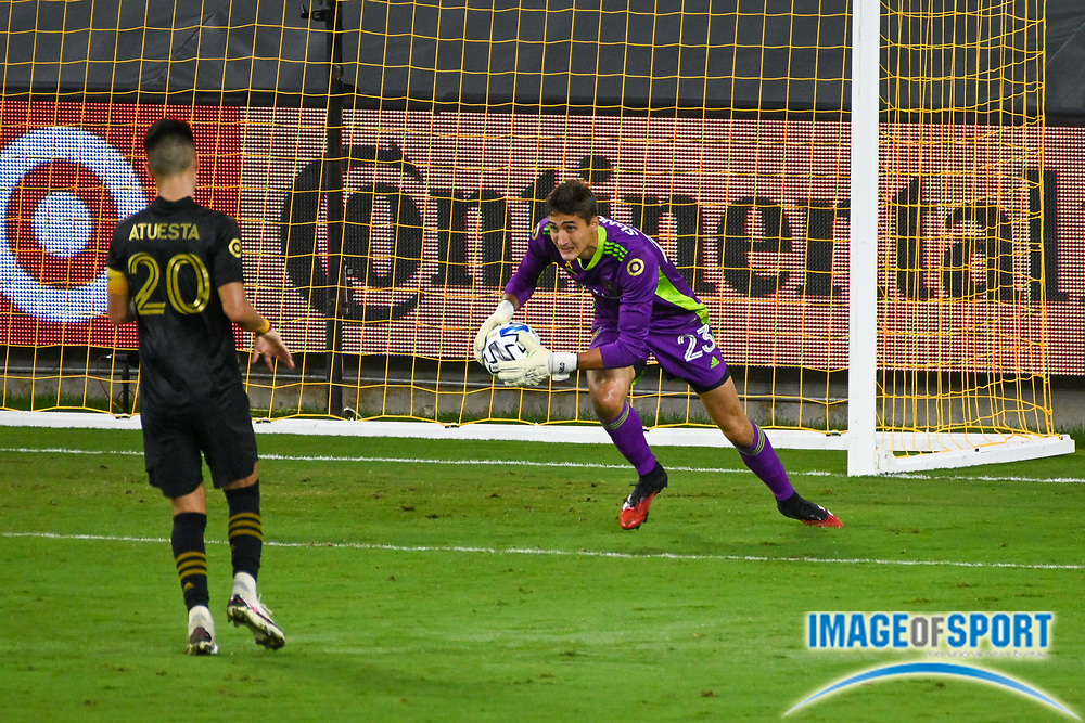 LAFC goalkeeper Pablo Sisniega (23) grabs the ball during a MLS soccer game, Sunday, Sept. 27, 2020, in Los Angeles. The San Jose Earthquakes defeated LAFC 2-1.(Dylan Stewart/Image of Sport)