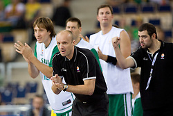 Matjaz Smodis and Head coach of Slovenia Jure Zdovc during the EuroBasket 2009 Group F match between Slovenia and Lithuania, on September 12, 2009 in Arena Lodz, Hala Sportowa, Lodz, Poland.  (Photo by Vid Ponikvar / Sportida)
