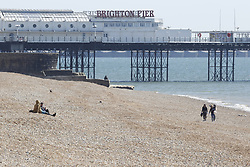 © Licensed to London News Pictures. 04/04/2020. Brighton, UK. Very few people are on the breach at Brighton, West Sussex. As death rates continue to rise the public have been told they can only leave their homes when it is absolutely essential, in an attempt to fight the spread of coronavirus COVID-19 disease. Photo credit: Peter Macdiarmid/LNP