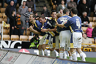 Coca Cola championship, Wolverhampton Wanderers v Cardiff City on Sunday 22nd Feb 2009 . pic by Andrew Orchard, Andrew Orchard sports photography, Cardiff City players celebrate the goal scored by Roger Johnson (far left)