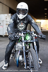 1/8 mile sprint races during the Intermot International Motorcycle Fair. Cologne, Germany. Saturday October 6, 2018. Photography ©2018 Michael Lichter.