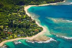 Haena Point, Tunnels Beach, Haena Beach Park, and coral reef, North Shore, Kauai, Hawaii, USA, Pacific Ocean