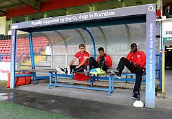 Bristol City's Wes Burns, Bristol City's Bobby Reid and Bristol City's Karleigh Osborne sit on the bench at Rochdale, Spotland Stadium - Photo mandatory by-line: Dougie Allward/JMP - Mobile: 07966 386802 23/08/2014 - SPORT - FOOTBALL - Manchester - Spotland Stadium - Rochdale AFC v Bristol City - Sky Bet League One