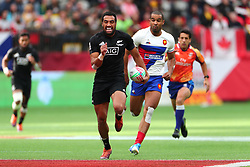 March 9, 2019 - Vancouver, BC, U.S. - VANCOUVER, BC - MARCH 09:  Sione Molia (12) of New Zealand runs the ball downfield against France during day 1 of the 2019 Canada Sevens Rugby Tournament on March 9, 2019 at BC Place in Vancouver, British Columbia, Canada. (Photo by Devin Manky/Icon Sportswire) (Credit Image: © Devin Manky/Icon SMI via ZUMA Press)