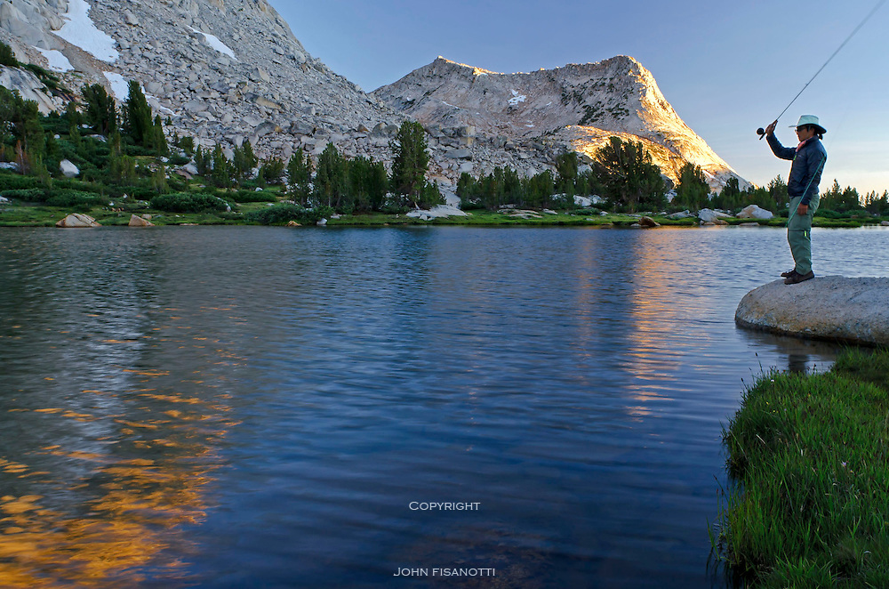 Hoping to catch dinner at Fletcher Lake, Yosemite National Park