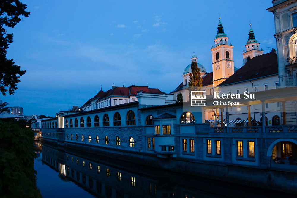 Night view of Cathedral and market buildings along the Ljubljanica river, Ljubljana, Slovenia