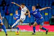 Leeds United forward Raphinha (18) and Brighton and Hove Albion defender Lewis Dunk (5) in action during the Premier League match between Leeds United and Brighton and Hove Albion at Elland Road, Leeds, England on 16 January 2021.