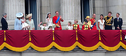 File photo dated 29/04/11 of The Duke and Duchess of Cambridge joined by her family members and members of the Royal family including Queen Elizabeth II and the Duke of Edinburgh, on the balcony of Buckingham Palace, London, following their wedding at Westminster Abbey. The Duke of Edinburgh has died, Buckingham Palace has announced. Issue date: Friday April 9, 2020.. See PA story DEATH Philip. Photo credit should read: Rui Vieira/PA Wire
