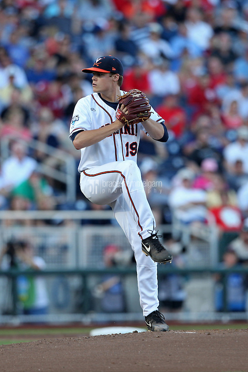 Nathan Kirby #19 of the Virginia Cavaliers pitches during Game 4 of the 2014 Men's College World Series between the Virginia Cavaliers and Ole Miss Rebels at TD Ameritrade Park on June 15, 2014 in Omaha, Nebraska. (Brace Hemmelgarn)