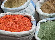 Spices for sale in a souq of the Old City in Damascus, Syria