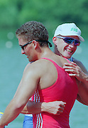 Lucerne, Switzerland. 1995 FISA WC III, Lake Rotsee, Lucerne, left SUI M1X. Xeno MULLER and right<br /> SLO M1X. Iztok COP, congratulate each other after the final of the men's single sculls<br /> [Mandatory Credit. Peter SPURRIER/Intersport Images]<br /> <br /> Image scanned from Colour Negative