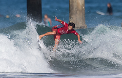 July 31, 2018 - Huntington Beach, California, United States - Huntington Beach, CA - Tuesday July 31, 2018: Ian Gouveia in action during a World Surf League (WSL) Qualifying Series (QS) Men's round of 96 heat at the 2018 Vans U.S. Open of Surfing on South side of the Huntington Beach pier. (Credit Image: © Michael Janosz/ISIPhotos via ZUMA Wire)