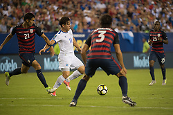 July 19, 2017 - Philadelphia, Pennsylvania, U.S - El Salvador defender RODOLFO ZELAYA (11) toys to get past the US against United States of America defender MATT HEDGES (21) and United States of America defender  OMAR GONZALEZ (3) while United States of America midfielder DARLINGTON NAGBE (25) looks on during CONCACAF Gold Cup 2017 quarterfinal action at Lincoln Financial Field in Philadelphia, PA.  USA  defeats El Salvador 2 to 0. (Credit Image: © Mark Smith via ZUMA Wire)