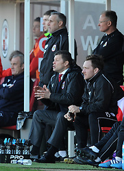 Bristol City manager, Steve Cotterill shouts from the bench - Photo mandatory by-line: Dougie Allward/JMP - Mobile: 07966 386802 - 07/03/2015 - SPORT - Football - Crawley - Broadfield Stadium - Crawley Town v Bristol City - Sky Bet League One