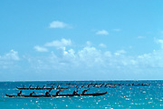 Outrigger canoes racing, Oahu<br />