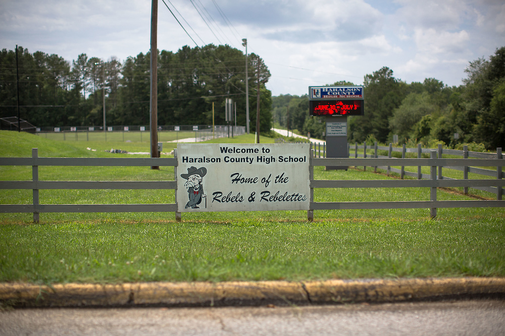 The mascot for the Haralson County High School is the Rebels, a reference to Confederate soldiers. Shot for a story about changes occurring in the South following a heightened national awareness and sensitivity concerning the Confederate battle flag. Photo by Kevin Liles for The New York Times