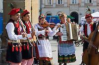 Folk musicians playing in the Market sqaure Rynek glowny in Krakow Poland