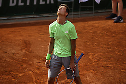 May 23, 2019 - Paris, France - Manuel Guinard of France reacts during a match against Belgian tennis player Kimmer Coppejans in the  third round qualifications of Roland Garros, in Paris, France, on May 22, 2019. (Credit Image: © Ibrahim Ezzat/NurPhoto via ZUMA Press)