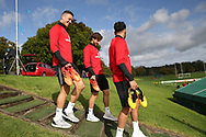 Wales players James Chester (l), Joe Allen (c) and Hal Robson-Kanu ® arrive for theWales football team training at the Vale Resort, Hensol , South Wales on Monday 2nd October 2017, the team are preparing for their FIFA World Cup qualifier away to Georgia this week. pic by Andrew Orchard, Andrew Orchard sports photography