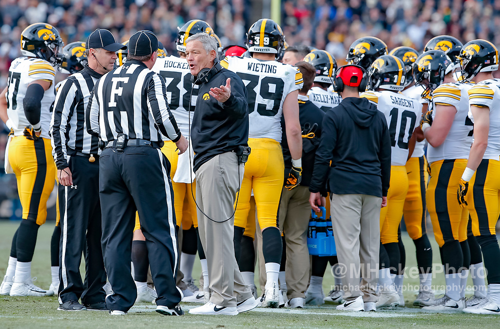 WEST LAFAYETTE, IN - NOVEMBER 03: Head coach Kirk Ferentz of the Iowa Hawkeyes is seen during the game against the Purdue Boilermakers at Ross-Ade Stadium on November 3, 2018 in West Lafayette, Indiana. (Photo by Michael Hickey/Getty Images) *** Local Caption *** Kirk Ferentz