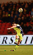 Sale Sharks stand-off AJ McGinty converts Charnley's try during the The Aviva Premiership match Sale Sharks -V- London Irish  at The AJ Bell Stadium, Salford, Greater Manchester, England on September 15, 2017. (Steve Flynn/Image of Sport)
