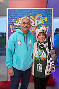 AARP New Mexico State Director Eugene Varela with Grand prize winner Janet Sanchez at the AARP Block Party at the Albuquerque International Balloon Fiesta in Albuquerque New Mexico USA on Oct. 8th, 2018.