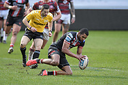 Kallum Watkins (3) of Salford Red Devils goes over for a try to make it 4-0