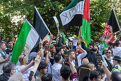 © Licensed to London News Pictures. 07/09/2021. London, UK. Pro Afghanistan demonstrators stage a protest outside the Pakistan High Commission due to the fall of the country. Photo credit: Ray Tang/LNP