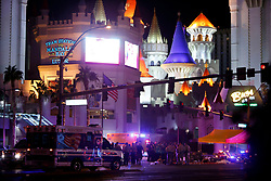 Las Vegas Metro Police and medical workers stage in the intersection of Tropicana Avenue and Las Vegas Boulevard South after a mass shooting at a music festival on the Las Vegas Strip Sunday, Oct. 1, 2017. STEVE MARCUS