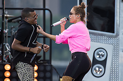 Jennifer Lopez rehearses with Randy Malcom Martinez of Gente de Zona for a live-taping ahead of the Macy's 4th of July Firework Show at Hunter's Point South Park on June 30, 2017 in New York City. (Photo by Steven Ferdman/SIPA USA) *** Please Use Credit from Credit Field ***