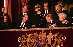 Queen Elizabeth II, the Duke of Edinburgh, the Duke and Duchess of Cambridge and the Earl and Countess of Wessex attend the annual Royal Festival of Remembrance at the Royal Albert Hall in London.
