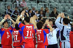Team of Korea before 21st Men's World Handball Championship 2009 Main round Group I match between National teams of Slovakia and Korea, on January 24, 2009, in Arena Zagreb, Zagreb, Croatia.  (Photo by Vid Ponikvar / Sportida)