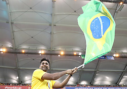 ROSTOV-ON-DON, June 17, 2018  A fan of Brazil cheers prior to a group E match between Brazil and Switzerland at the 2018 FIFA World Cup in Rostov-on-Don, Russia, June 17, 2018. (Credit Image: © Li Ming/Xinhua via ZUMA Wire)